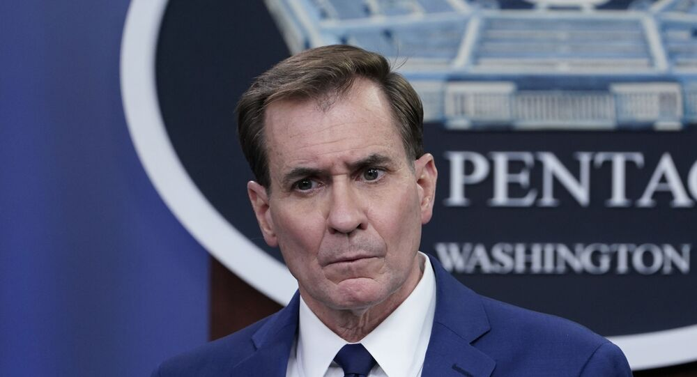 Pentagon spokesman John Kirby speaks during a briefing at the Pentagon in Washington, Friday, April 9, 2021.