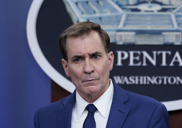 Pentagon spokesman John Kirby speaks during a briefing at the Pentagon in Washington, Friday, April 9, 2021.