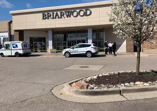 Scene at Briarwood Mall in Ann Arbor, Michigan, on April 16, 2021