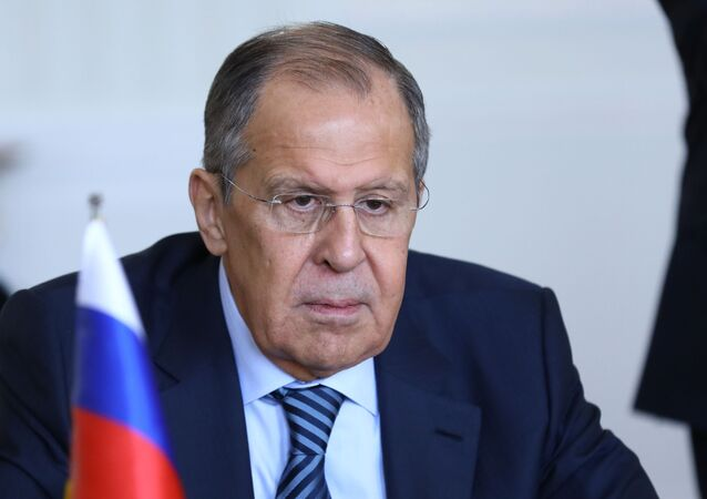 Russian Foreign Minister Sergei Lavrov during a meeting with Iranian Foreign Minister Mohammad Javad Zarif in Tehran.