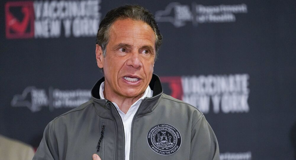 Gov. Andrew Cuomo speaks during a news conference, Wednesday, April 14, 2021 at a pop up COVID-19 vaccination sight at Belmont Park in Elmont, N.Y.