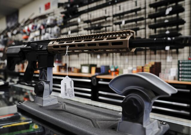 An FU custom upper receiver for an AR-15 style rifle is displayed for sale at Firearms Unknown, a gun store in Oceanside, California, U.S., April 12, 2021.  REUTERS/Bing Guan
