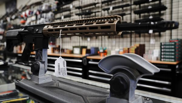 An FU custom upper receiver for an AR-15 style rifle is displayed for sale at Firearms Unknown, a gun store in Oceanside, California, U.S., April 12, 2021.  REUTERS/Bing Guan - Sputnik International