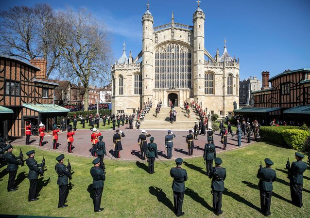 The coffin of Britain's Prince Philip, husband of Queen Elizabeth, who died at the age of 99, is taken into St. George's Chapel for a funeral service, in Windsor, Britain, April 17, 2021.