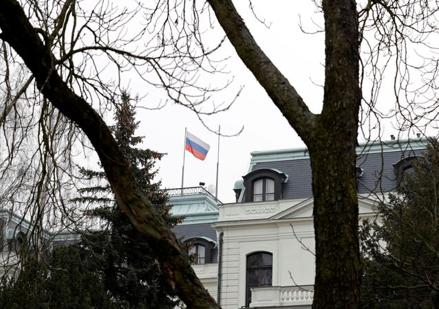 A national flag of Russia flies on the Russian embassy in Prague, Czech Republic, March 26, 2018.
