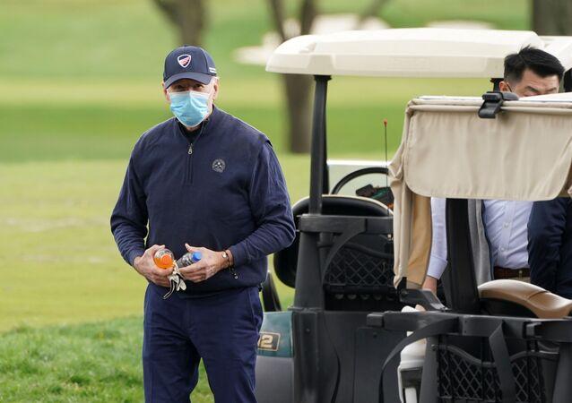 U.S. President Joe Biden finishes a round of golf in Wilmington, Delaware, U.S., April 17, 2021.