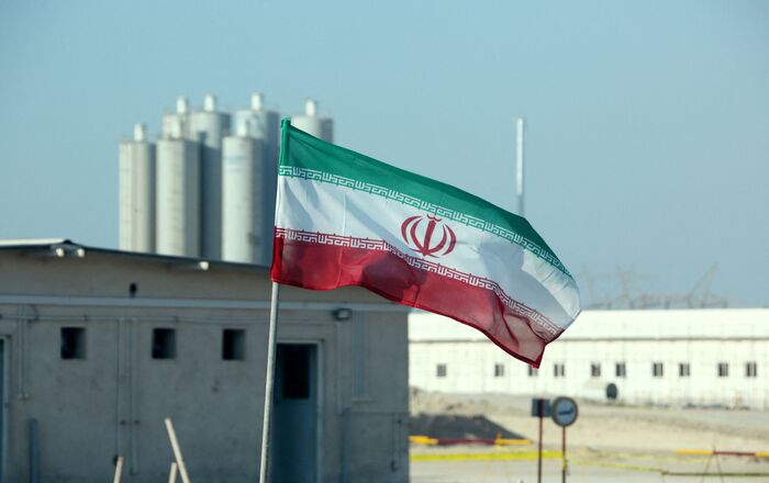A picture taken on November 10, 2019, shows an Iranian flag in Iran's Bushehr nuclear power plant, during an official ceremony to kick-start works on a second reactor at the facility