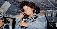 Seen on the flight deck of the space shuttle Challenger, astronaut Sally K Ride, STS-7 mission specialist, became the first American woman in space on 18 June 1983.