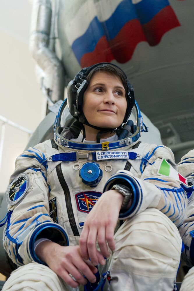 Italian astronaut Samantha Cristoforetti during a training at a Soyuz TMA-M simulator at the Gagarin Research & Test Cosmonaut Training Centre.