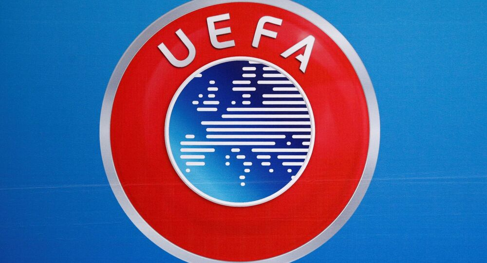 A logo is pictured on a backdrop before a news conference after an UEFA Executive Board meeting in Nyon, Switzerland, December 9, 2016