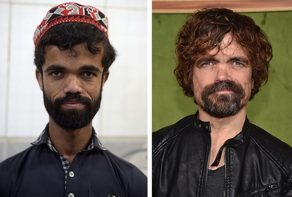 This photo combination created on March 14, 2019 shows (L) Pakistani waiter Rozi Khan posing for a photograph at Dilbar Hotel in Rawalpindi on February 22, (R) US actor Peter Dinklage at the HBO premiere of My Dinner With Herve at the Paramount Studios in Los Angeles on October 4, 2018.
