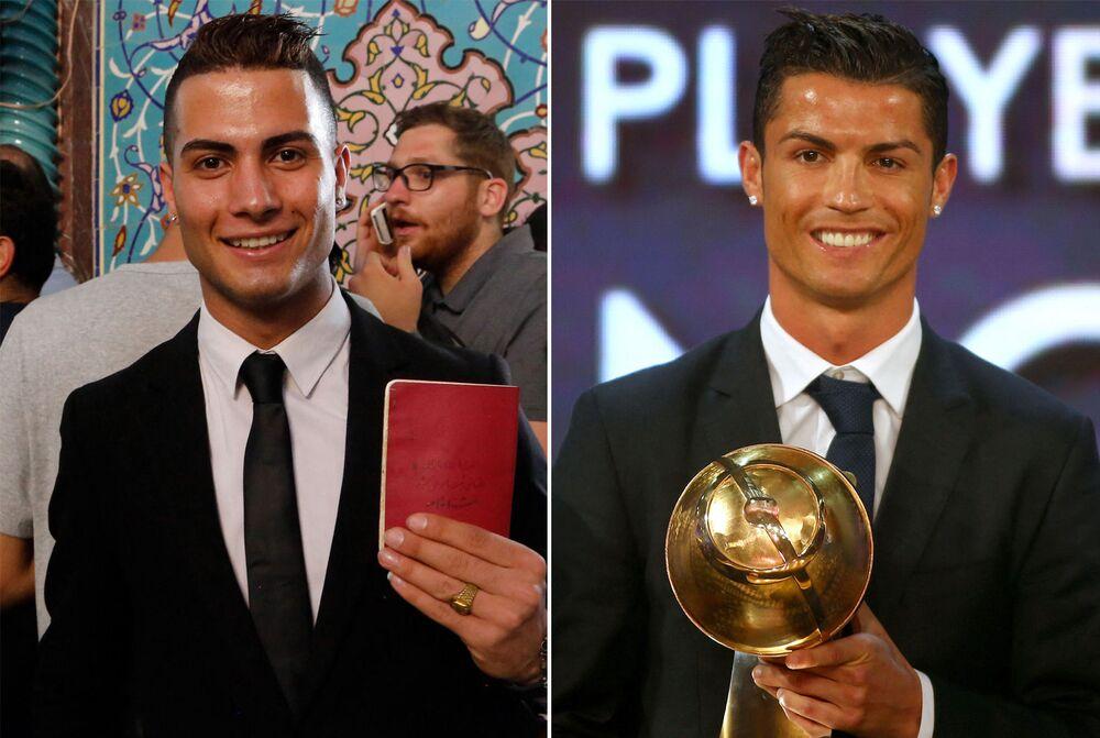 Iranian Reza Alireza Lou (L) and Real Madrid's Portuguese soccer player Cristiano Ronaldo (R)
