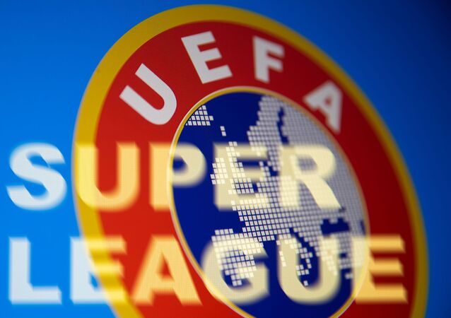 Super League words are seen in front of UEFA logo in this illustration taken April 19, 2021
