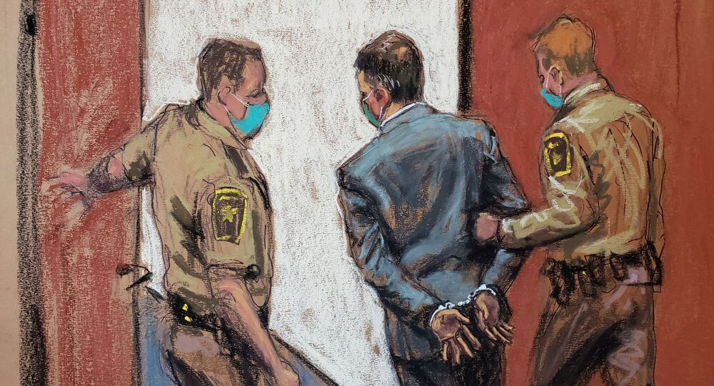Former Minneapolis police officer Derek Chauvin is led away in handcuffs after a jury found him guilty on all counts in his trial for second-degree murder, third-degree murder and second-degree manslaughter in the death of George Floyd in Minneapolis, Minnesota, U.S. April 20, 2021 in this courtroom sketch.