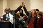 Floyd family attorney Ben Crump holds hands with witness Donald Williams during a news conference following the verdict in the trial of former Minneapolis police officer Derek Chauvin, found guilty of the death of George Floyd, in Minneapolis, Minnesota, U.S., April 20, 2021