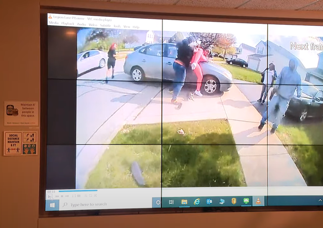 A screenshot from the police body camera footage of the shooting of Makiyah Bryant by police.