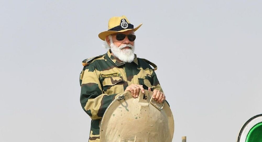 Narendra Modi spent time with brave soldiers and security forces at Longewala in Rajasthan