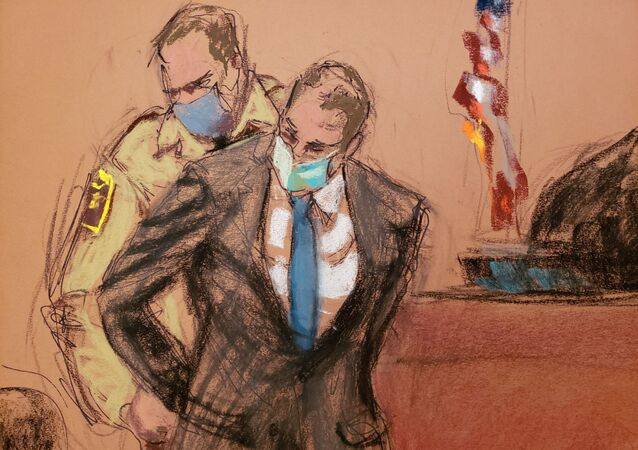 Former Minneapolis police officer Derek Chauvin is placed in handcuffs after a jury found him guilty on all counts in his trial for second-degree murder, third-degree murder and second-degree manslaughter in the death of George Floyd in Minneapolis, Minnesota, U.S. April 20, 2021 in this courtroom sketch
