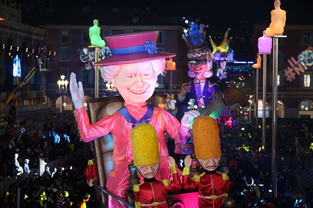 A giant figure depicting Queen Elizabeth II is seen during the 136th Nice Carnival, France in 2020.