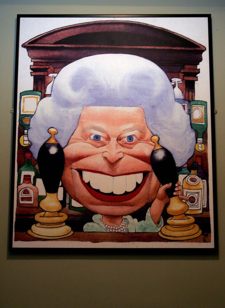 A cartoon depicting Queen Elizabeth II is displayed at the New Cartoon Gallery in London in 2006.
