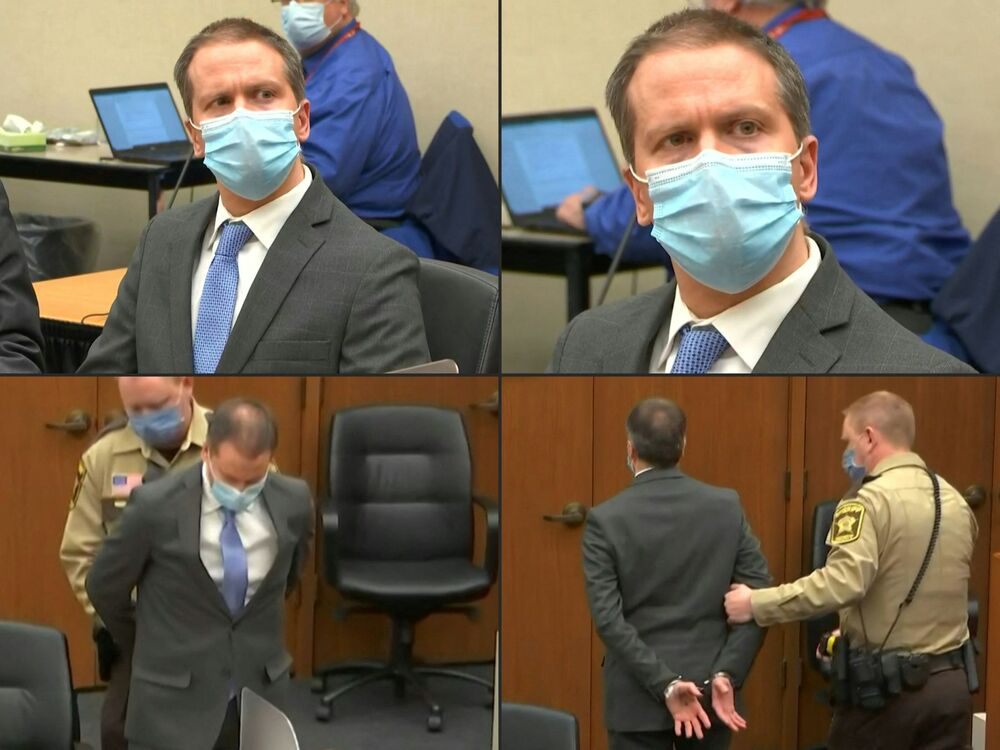 This combination of pictures created on 20 April 2021 shows former Minneapolis police officer Derek Chauvin listening to the verdict and being taken away handcuffed in his trial for the killing of George Floyd, in Minneapolis, Minnesota, on 20 April 2021.