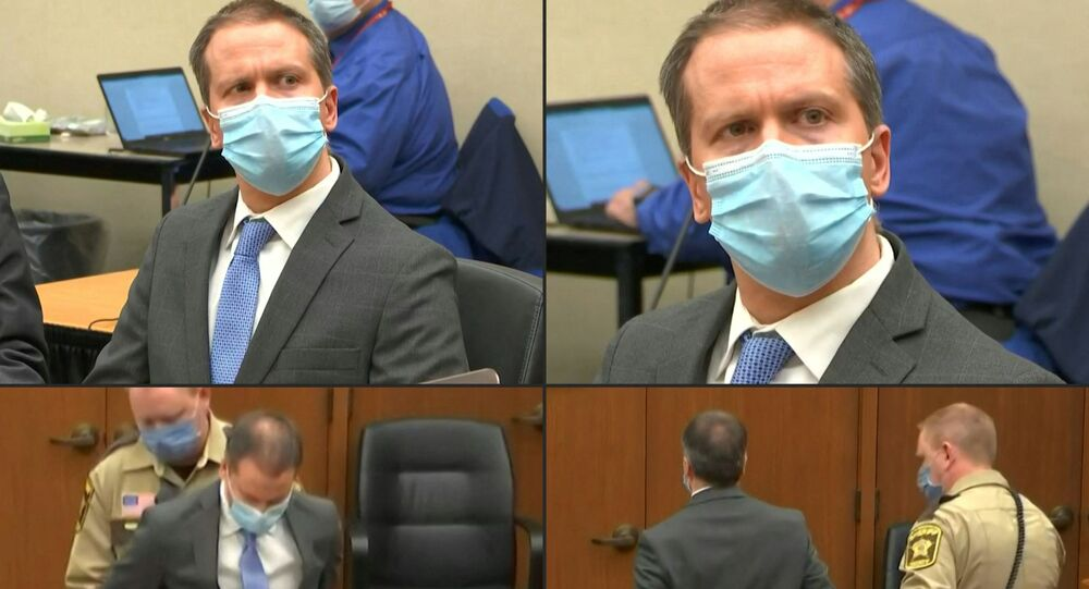 A combination of pictures created on 20 April 2021 shows former Minneapolis police officer Derek Chauvin listening to the verdict and being taken away handcuffed after his trial for the killing of George Floyd, in Minneapolis, Minnesota.