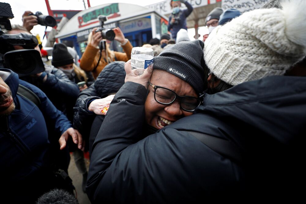 Jennifer Starr Dodd reacts after the verdict in the trial of former Minneapolis police officer Derek Chauvin, found guilty of the death of George Floyd, at George Floyd Square in Minneapolis, Minnesota, US, 20 April 2021.