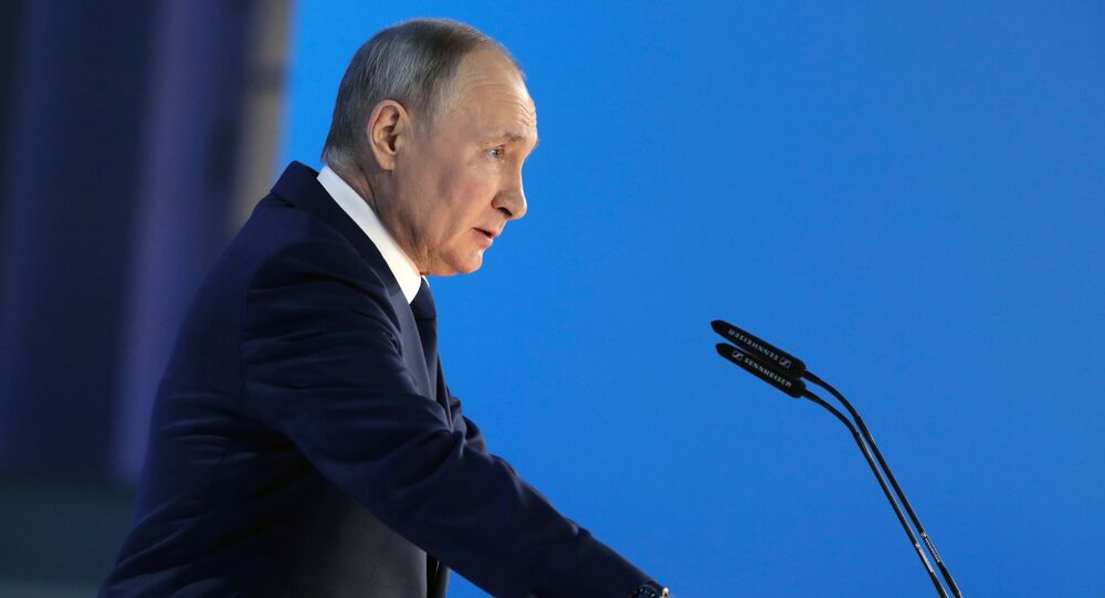 Russian President Vladimir Putin at his annual address to Russian lawmakers. 21 April 2021.