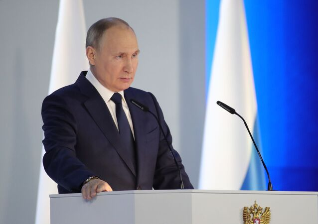 Russian President Vladimir Putin at his annual address to the Federal Assembly. 21 April 2021.