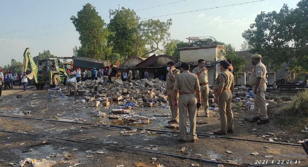 Atleast five dead after a collision of a passenger train with a truck and a bike at Katra railway crossing on Delhi-Lucknow National Highway in Shahjahanpur