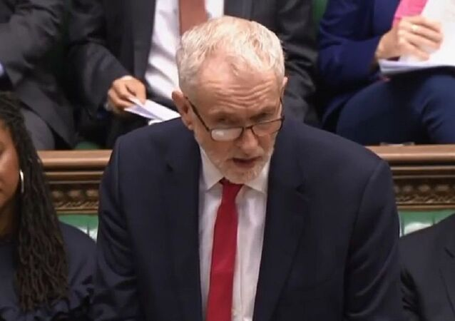 Jeremy Corbyn at the House of Commons During prime minister's questions, 12 February 2020