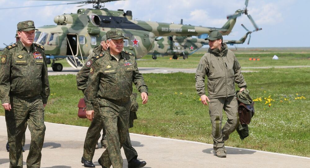 Russian Defence Minister Sergei Shoigu during military drills in Crimea, 22 April 2021