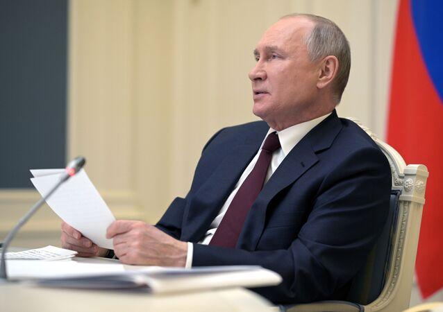 President of Russia Vladimir Putin speaks at the Leaders' summit on climate, 22 April 2021
