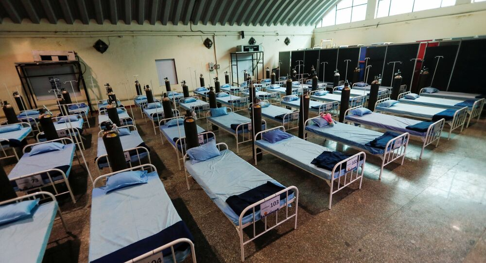 Beds with oxygen support are seen at a recently constructed quarantine facility for patients diagnosed with the coronavirus disease (COVID-19), in Mumbai, India, April 13, 2021