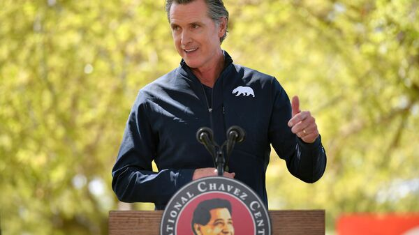 California Governor Gavin Newsom speaks during a visit by U.S. First Lady Jill Biden, at The Forty Acres, the first headquarters of the United Farm Workers labor union, in Delano, California, U.S. March 31, 2021.  - Sputnik International