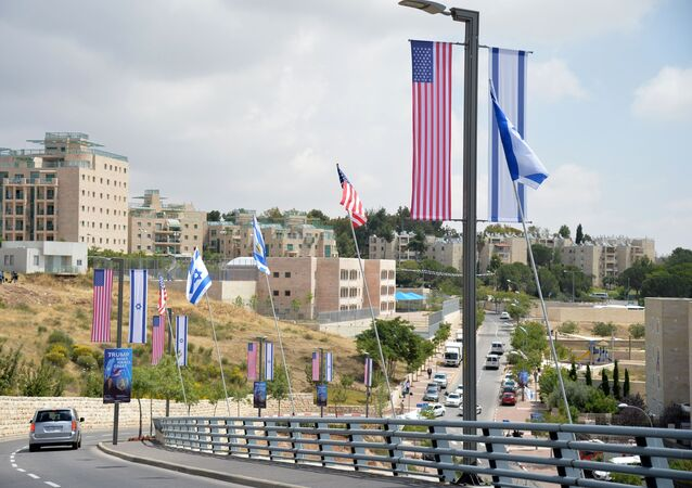 Flags of the US and Israel in Jerusalem, where the ceremony of moving the US Embassy from Tel Aviv to Jerusalem took place.