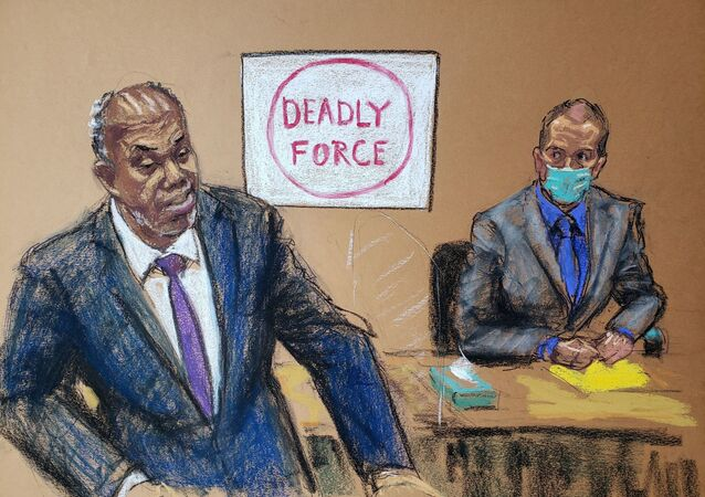 Prosecutor Jerry Blackwell delivers the rebuttal to the defense closing arguments during the trial of former Minneapolis police officer Derek Chauvin (R) for second-degree murder, third-degree murder and second-degree manslaughter in the death of George Floyd in Minneapolis, Minnesota, U.S. April 19, 2021 in this courtroom sketch.
