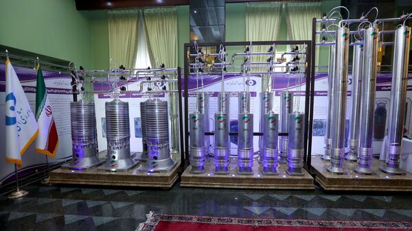 A number of new generation Iranian centrifuges are seen on display during Iran's National Nuclear Energy Day in Tehran, Iran, 10 April 2021 - Sputnik International