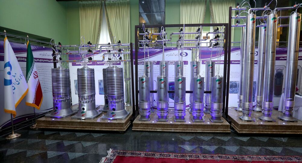 A number of new generation Iranian centrifuges are seen on display during Iran's National Nuclear Energy Day in Tehran, Iran April 10, 2021