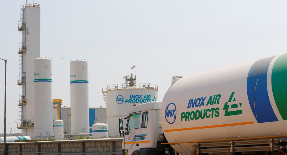 An empty tanker is seen outside an oxygen plant, amidst the spread of the coronavirus disease (COVID-19), in Ghaziabad, on the outskirts of New Delhi, India, April 22, 2021.