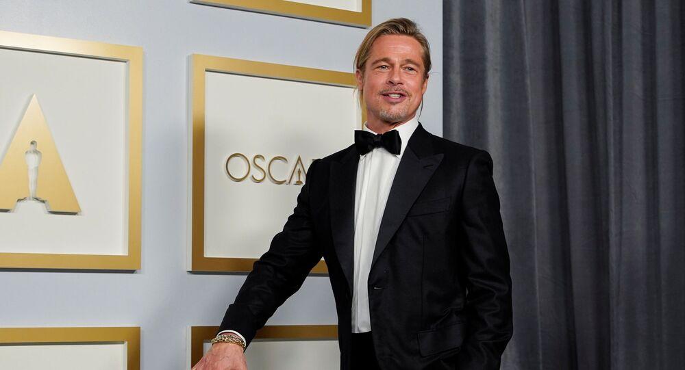 Brad Pitt poses in the press room at the Oscars, in Los Angeles, California, U.S., April 25, 2021.