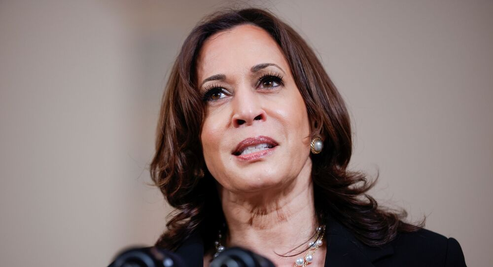 U.S. Vice President Kamala Harris speaks after a jury reached guilty verdicts in the murder trial of former Minneapolis police officer Derek Chauvin stemming from George Floyd's deadly arrest, in the Cross Hall at the White House in Washington, U.S., April 20, 2021. REUTERS/Tom Brenner/File Photo