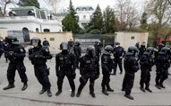 Police officers stand outside the Russian Embassy during a protest over Russian intelligence services alleged involvement in an ammunition depot explosion in Vrbetice area in 2014, in Prague, Czech Republic April 18, 2021.