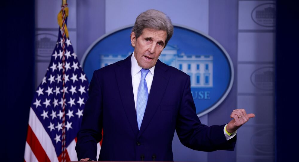 John Kerry, Special Presidential Envoy for Climate, delivers remarks during a press briefing at the White House in Washington, U.S., April 22, 2021.