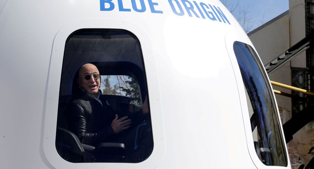 Amazon and Blue Origin founder Jeff Bezos addresses the media about the New Shepard rocket booster and Crew Capsule mockup at the 33rd Space Symposium in Colorado Springs, Colorado, United States April 5, 2017.