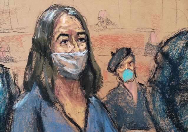 British socialite Ghislaine Maxwell appears during her arraignment hearing on a new indictment at Manhattan Federal Court in New York City, New York, U.S. April 23, 2021, in this courtroom sketch.
