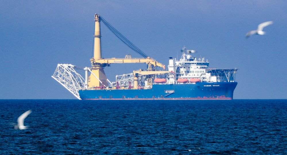 The Russian pipe-laying vessel Akademik Cherskiy is pictured in the waters of Kaliningrad, Russia. The Akademik Cherskiy is capable of completing the construction of the Nord Stream 2 gas pipeline.