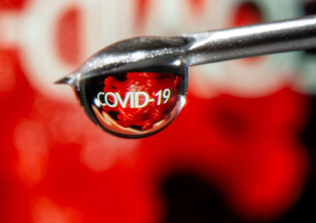 FILE PHOTO: The word COVID-19 is reflected in a drop on a syringe needle in this illustration taken November 9, 2020.