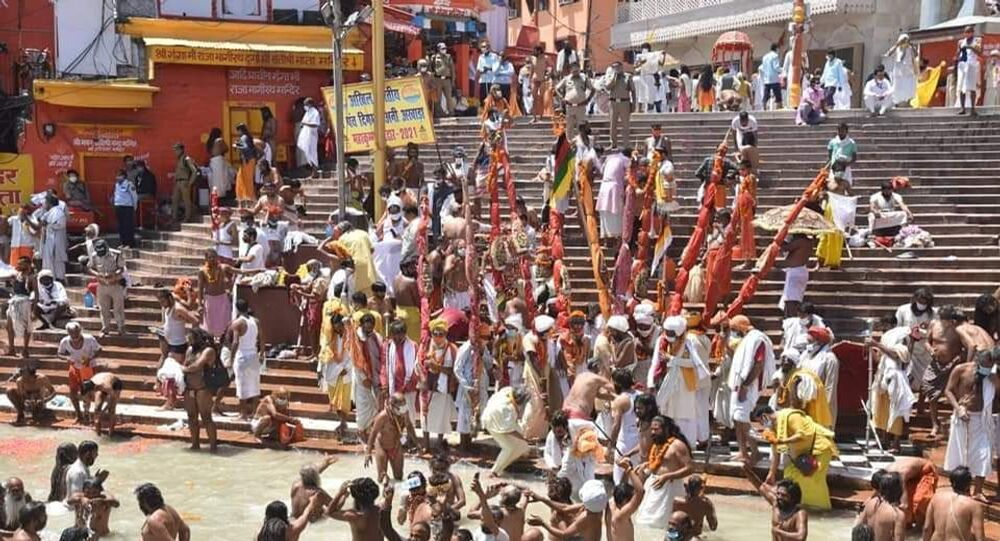 """Hundreds of Hindu devotees converged at the """"Har Ki Pauri"""", the main river bank of the Ganges, in India's Haridwar city on Tuesday"""