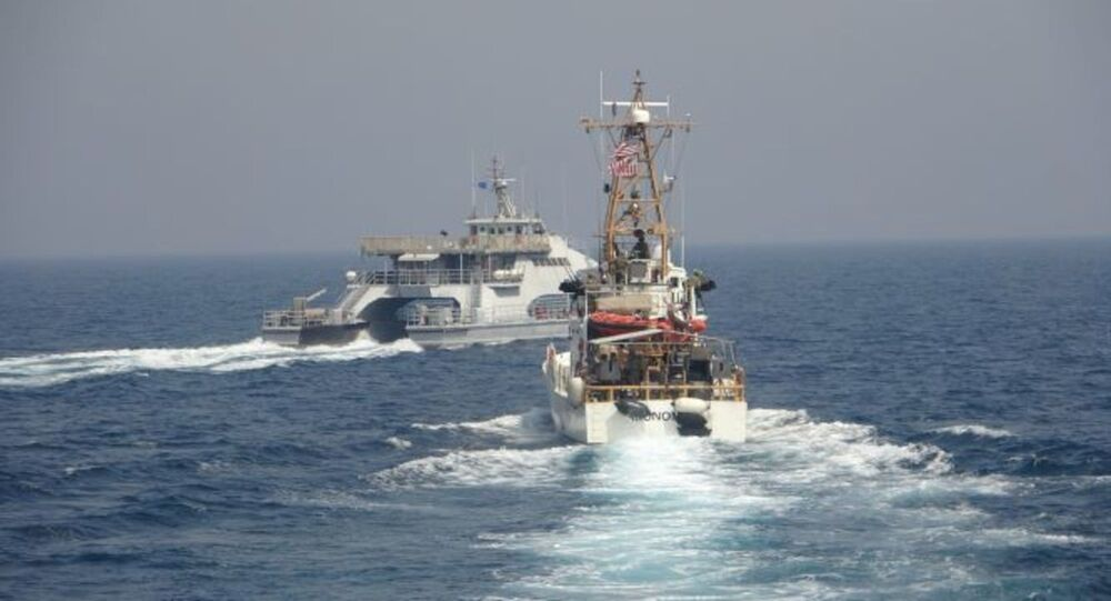 ARABIAN GULF (April 2, 2021) Iran's Islamic Revolutionary Guard Corps Navy (IRGCN) Harth 55, left, conducted an unsafe and unprofessional action by crossing the bow of the Coast Guard patrol boat USCGC Monomoy (WPB 1326), right, as the U.S. vessel was conducting a routine maritime security patrol in international waters of the southern Arabian Gulf, Apr. 2. The USCGC ships are assigned to Patrol Forces Southwest Asia (PATFORSWA), the largest U.S. Coast Guard unit outside the United States, and operate under U.S. Naval Forces Central Command's Task Force 55.